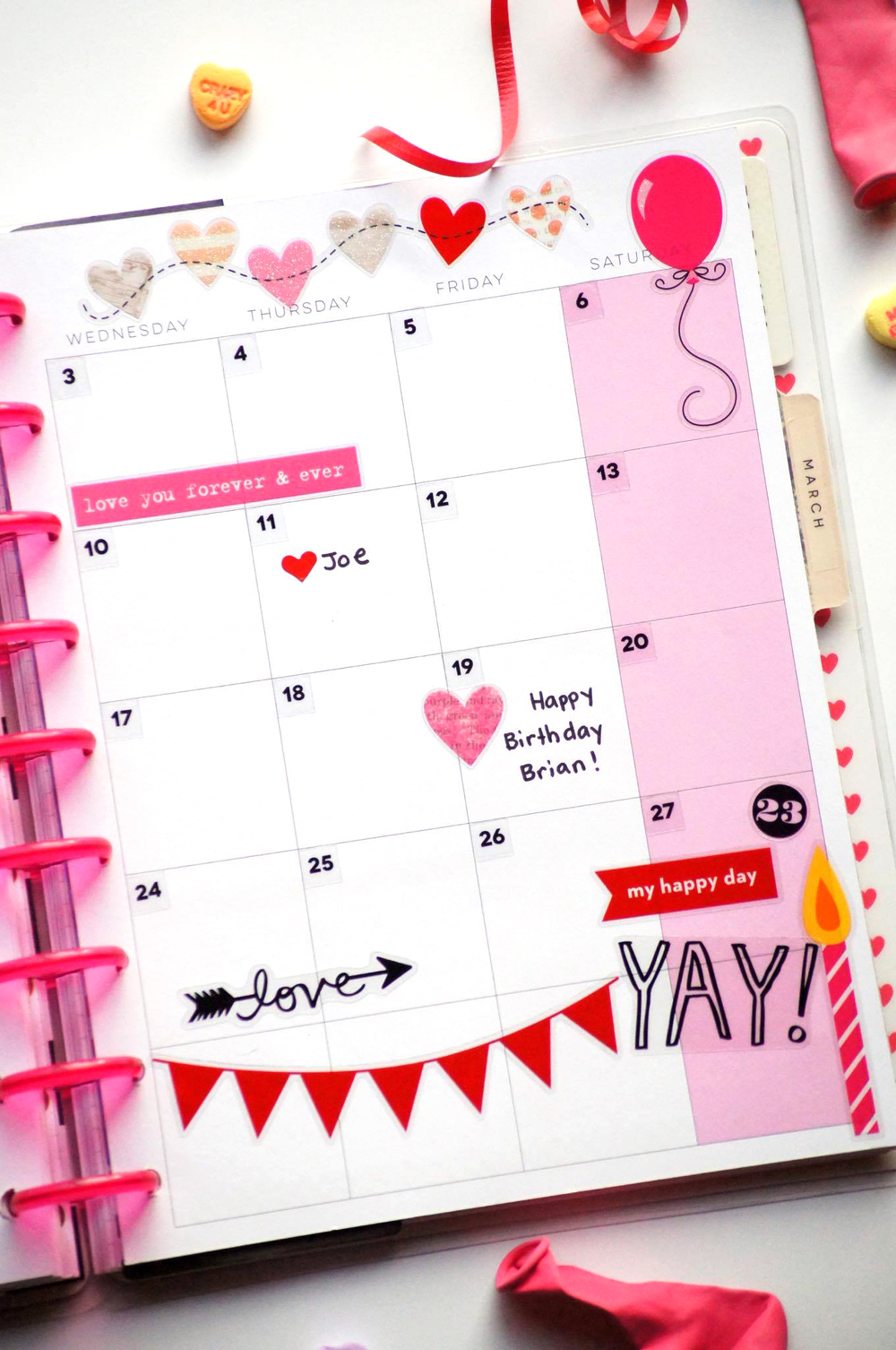 V-day & B-day themed February monthly layout in The Happy Planner™ of mambi Design Team member Megan McKenna | me & my BIG ideas