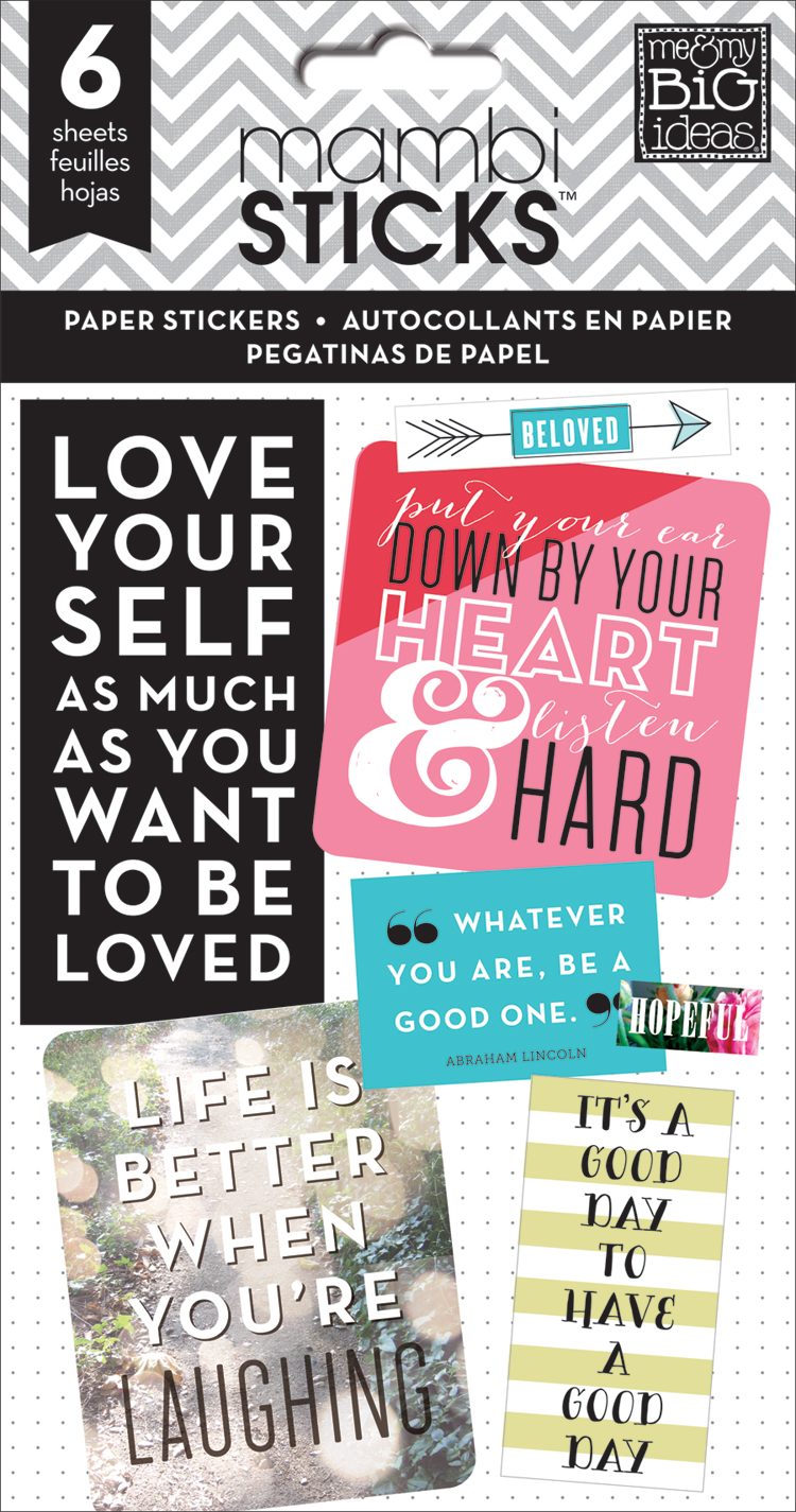 'Love Yourself' mambiSTICKS quote stickers value pack | me & my BIG ideas.jpg
