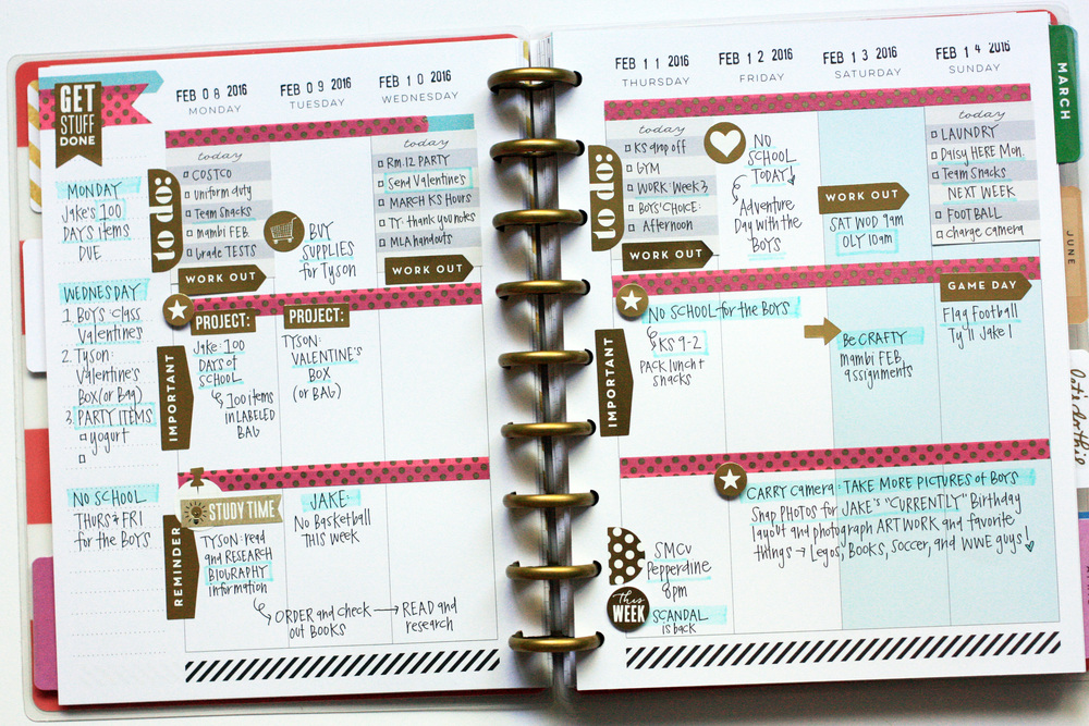 The happy planner full february week me my big ideas for Happy planner ideas