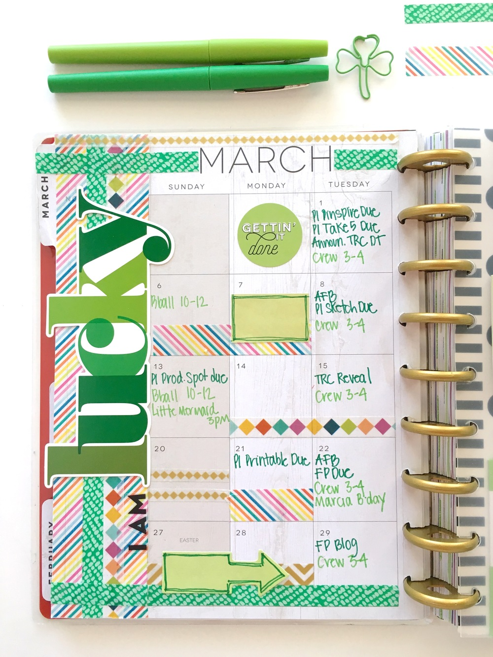 The happy planner lucky march monthly me my big ideas for Happy planner ideas