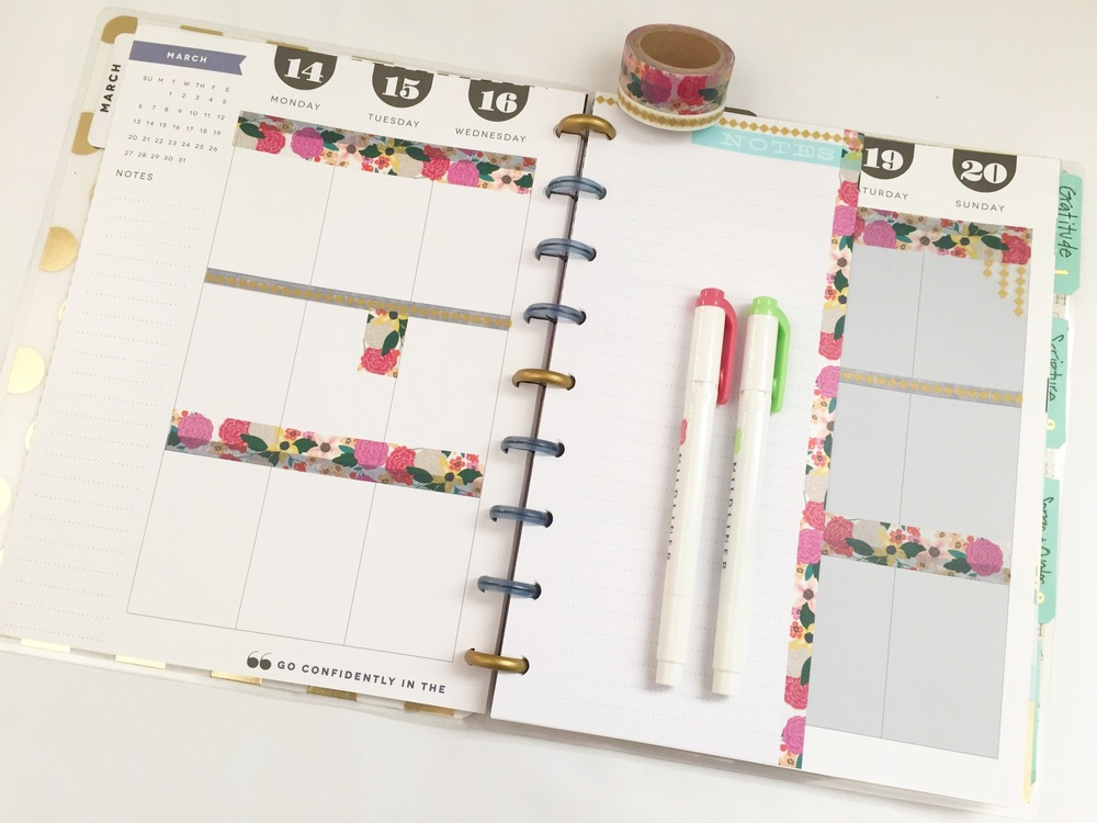decorating the whole month of March with just one tube of washi tape in The Happy Planner? of mambi Design Team member Casie Gutierrez | me & my BIG ideas