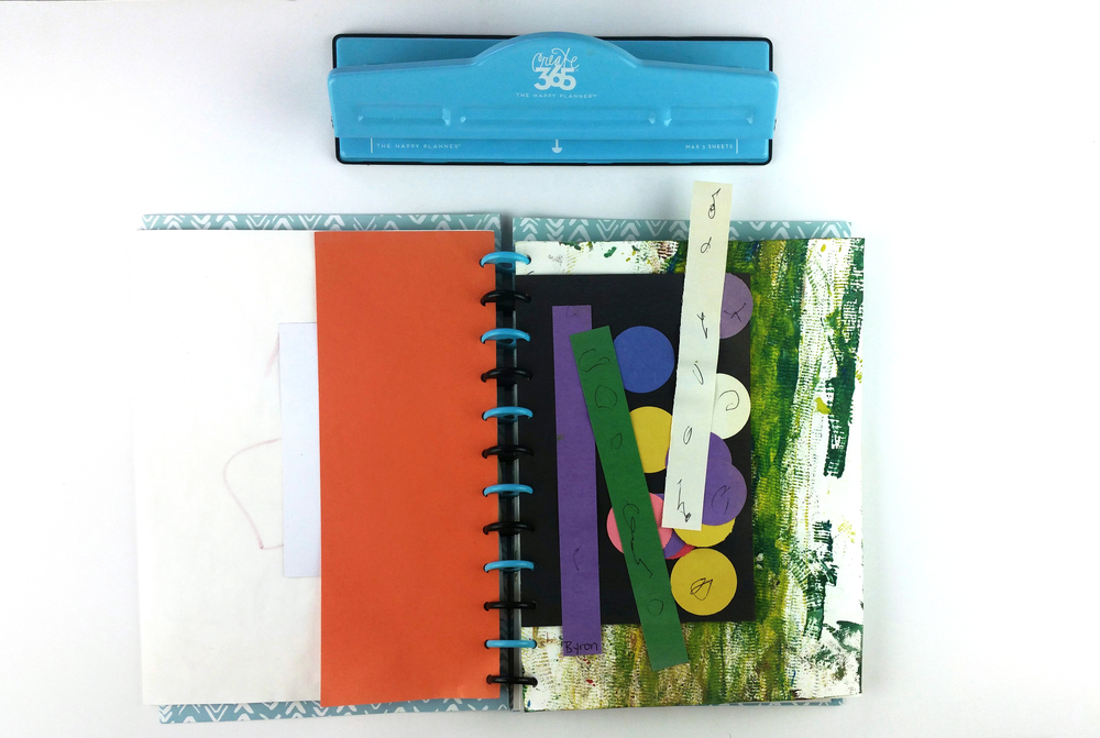 a child's art organization album by mambi Design Team member Nicole Lensen for The Happy Planner™ PUNCH-A-PALOOZA | me & my BIG ideas