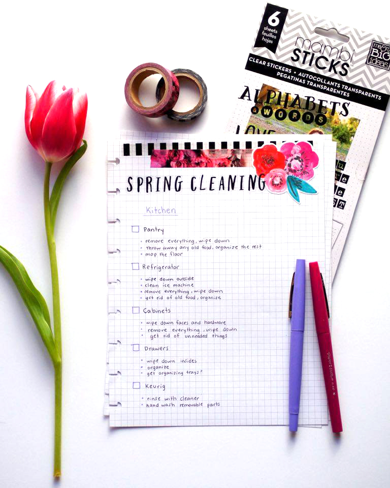 Spring Cleaning pages in The Happy Planner™ of mambi Design Team member Megan McKenna | me & my BIG ideas
