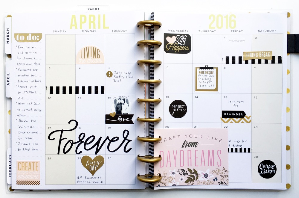black & gold April monthly layout in The Happy Planner™ of mambi Design Team member Theresa Doan | me & my BIG ideas