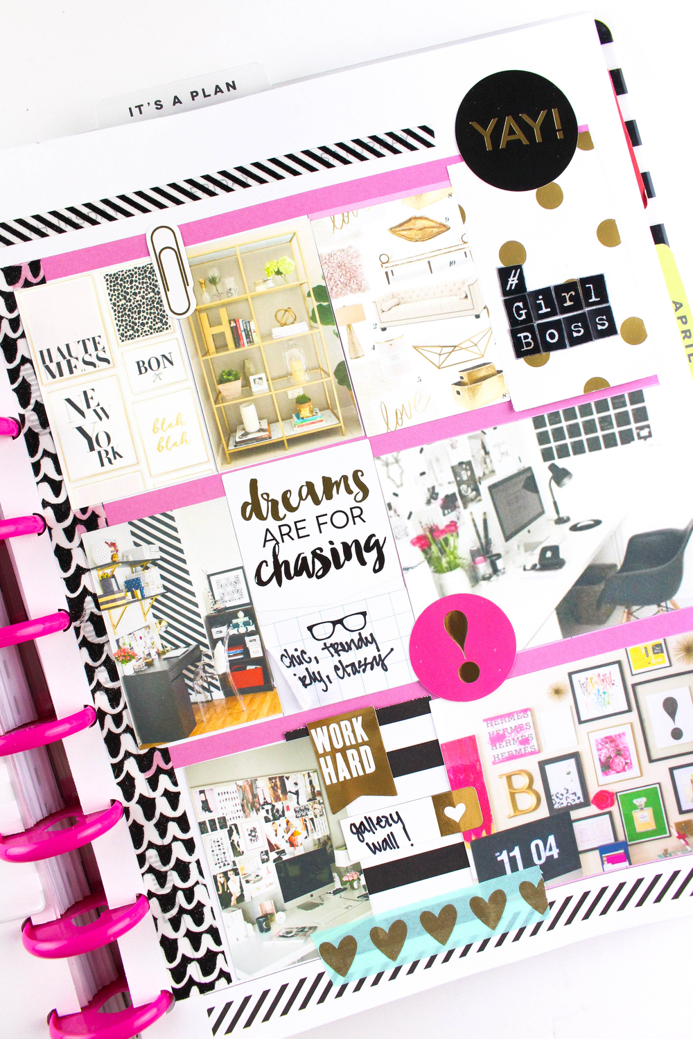 office planning in The Happy Planner™ of mambi Design Team member Tiffany Ross using the new mambiMAKERS adhesive photo paper | me & my BIG ideas