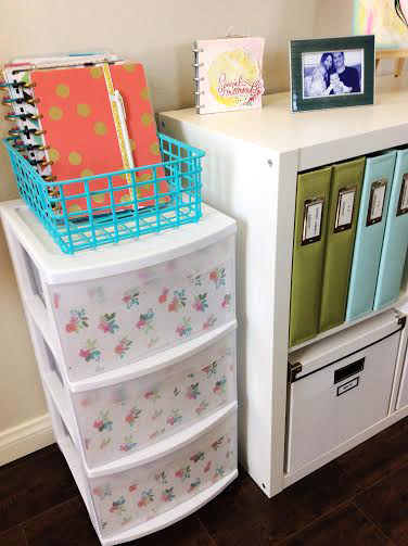wall art & plastic cart spruce up by mambi Design Team member Jen Randall using our new Expandable Paper Pads | me & my BIG ideas