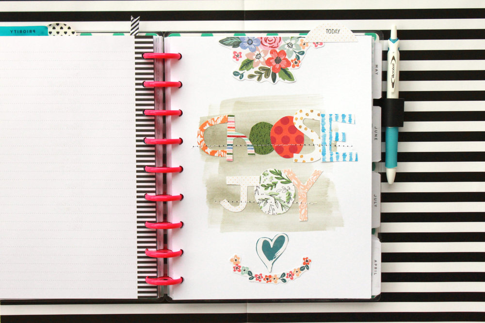 'Choose Joy' custome dashboard in The Happy Planner™ of mambi Design Team member Heather Adams | me & my BIG ideas