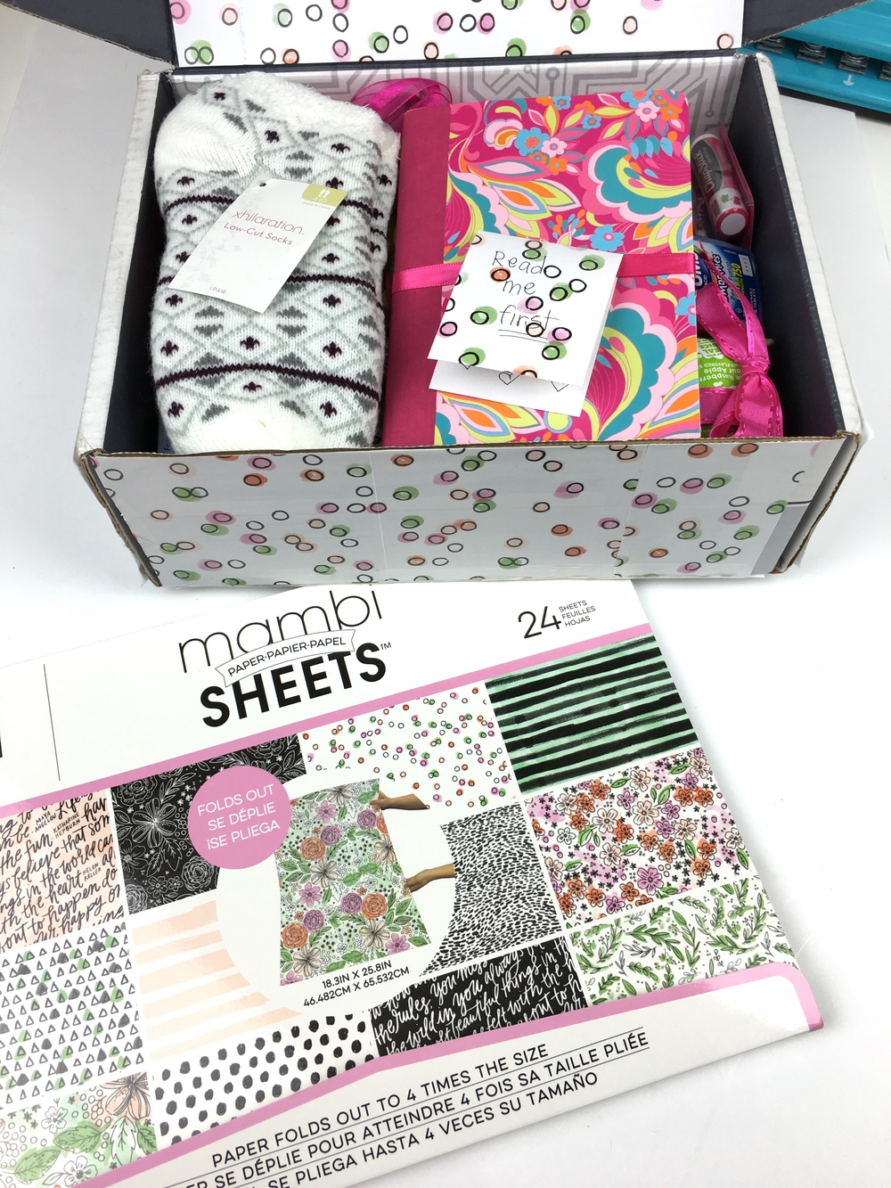 a care package made pretty by mambi Design Team member Chantal Stevens using one of the new mambiSHEETS Expandable Paper Pads | me & my BIG ideas