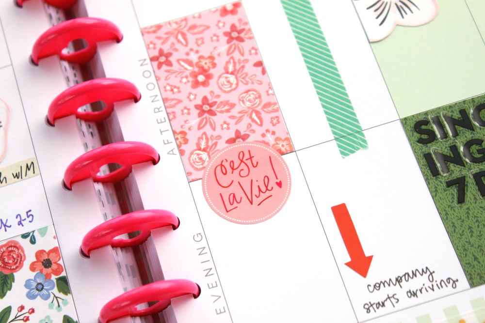 April week in The Happy Planner™ of mambi Design Team member Heather Adams embellished w/ trimmed POCKET PAGES™ cards | me & my BIG ideas