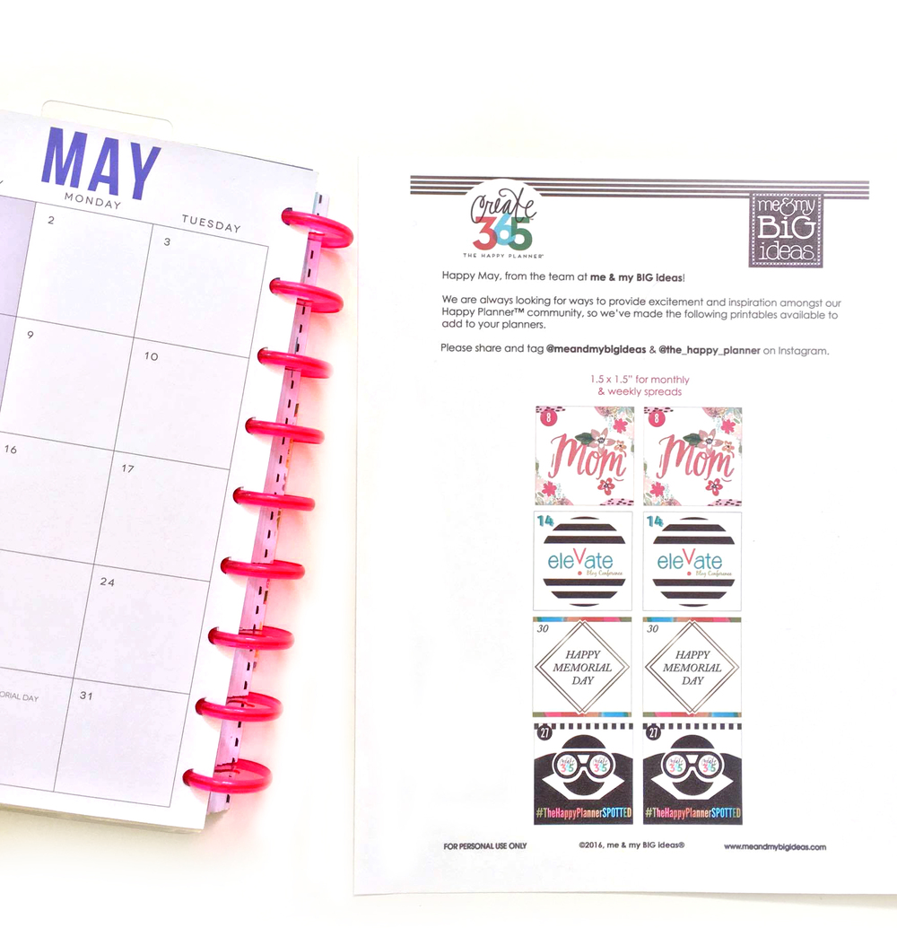 Free happy planner printables for may me my big ideas for Happy planner ideas