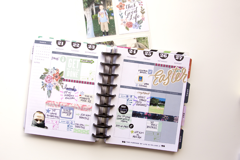 two weeks of memory planning in The Happy Planner™ of mambi Design Team member Jennie McGarvey that she embellished using Happy Planner™ pocket pages and new POCKET PAGES™ cards | me & my BIG ideas