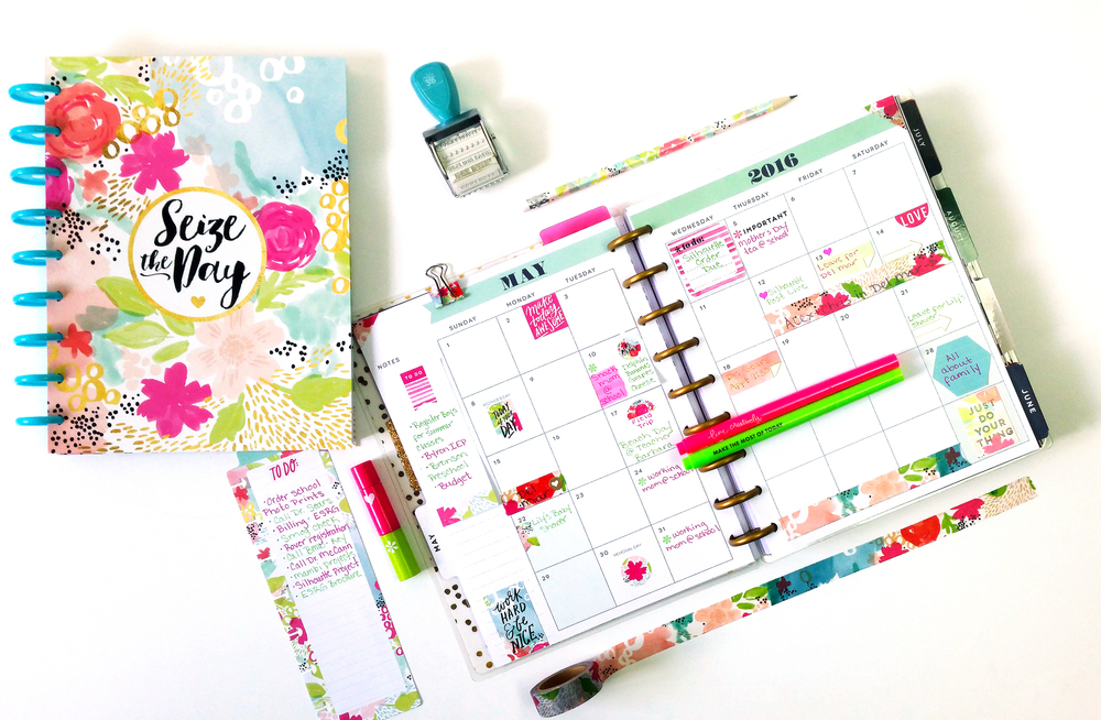 May monthly in The Happy Planner™ of mambi Deisgn Team member Nicole Lensen using some of the new products from the 4/25 Back-to-School release | me & my BIG ideas