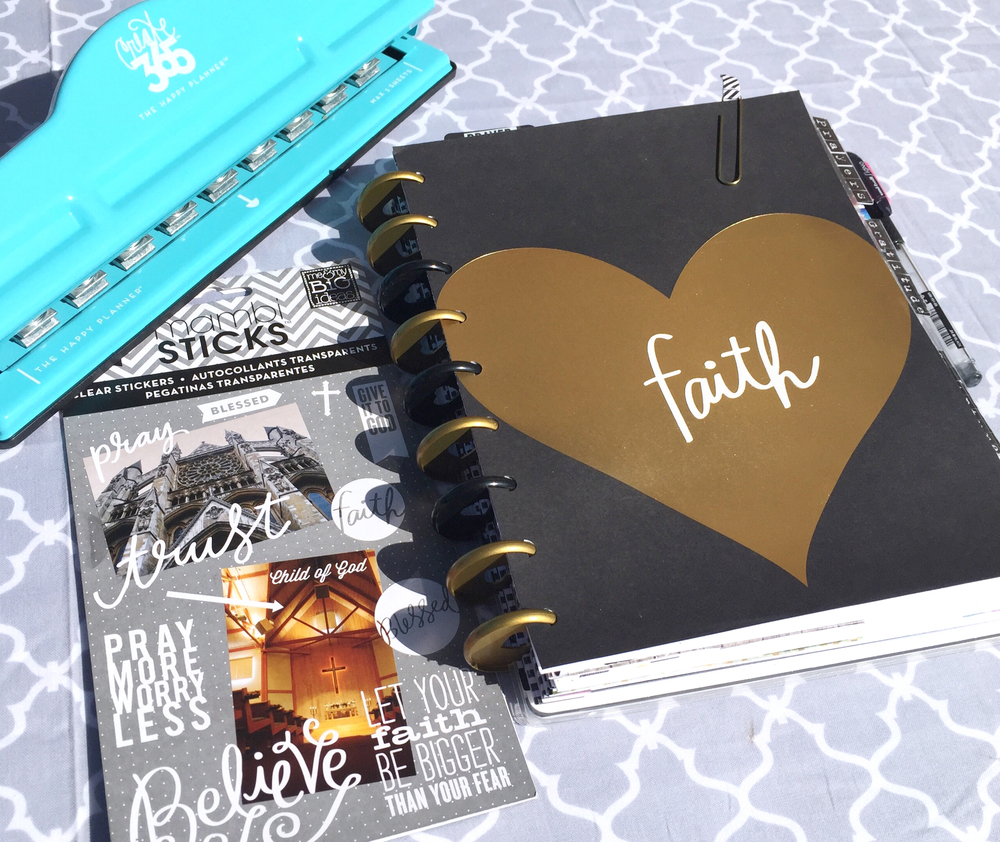 A custome made gratitude faith planner by mambi design team member casie guiterrez using