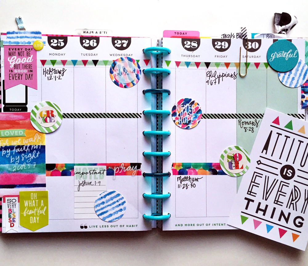 A custome made gratitudefaith planner by mambi design team member casie guiterrez using