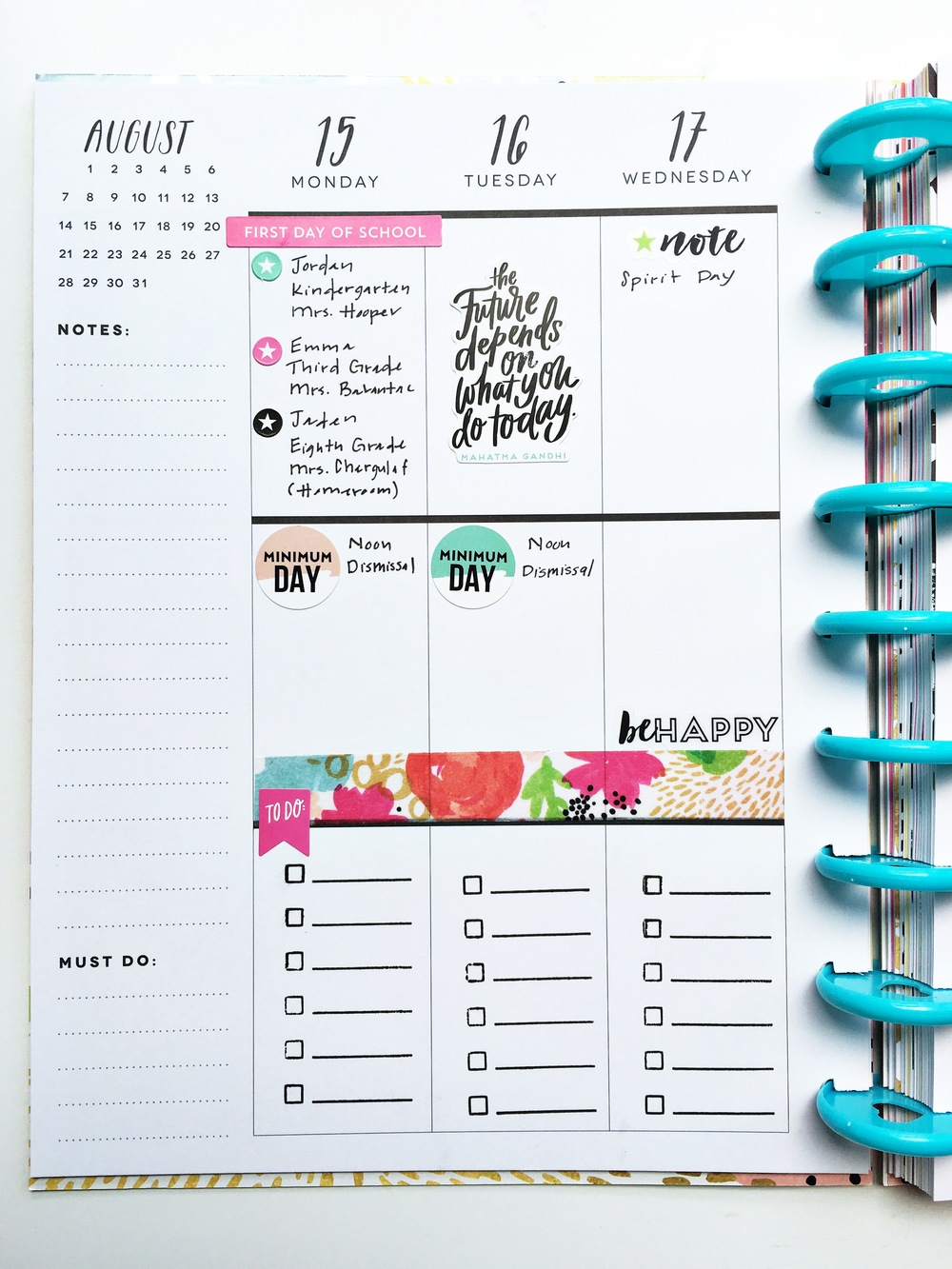 planning for August in May by mambi Design Team member Theresa Doan in new new 'Seize the Day' Happy Planner™ | me & my BIG ideas