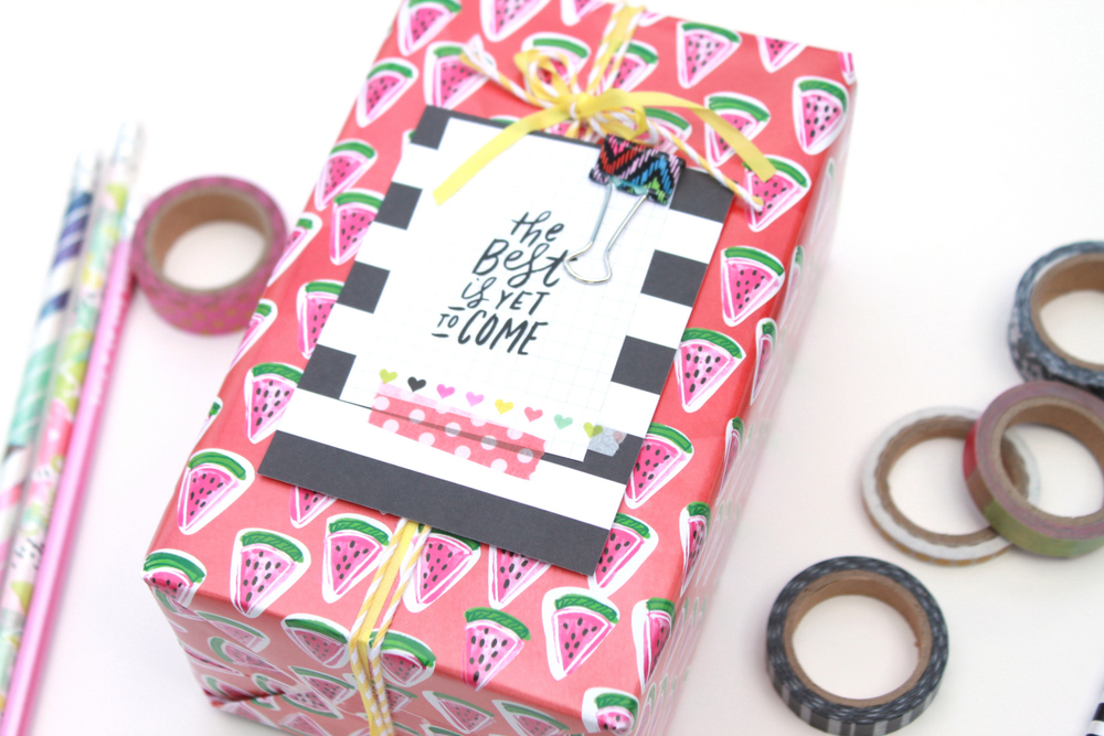 watermelon wrapped gift by mambi Design Team member Heather Adams using Expandable Paper Pad   me & my BIG ideas