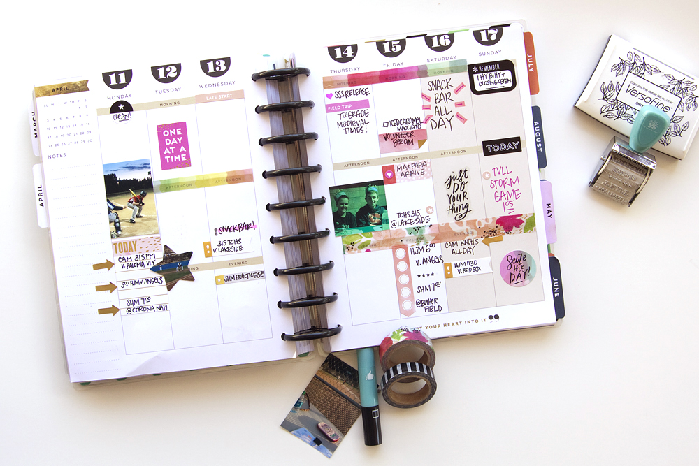 a week of memory planning in The Happy Planner™ of mambi Design Team member Jennie McGarvey using new products from our 4/25 release | me & my BIG ideas