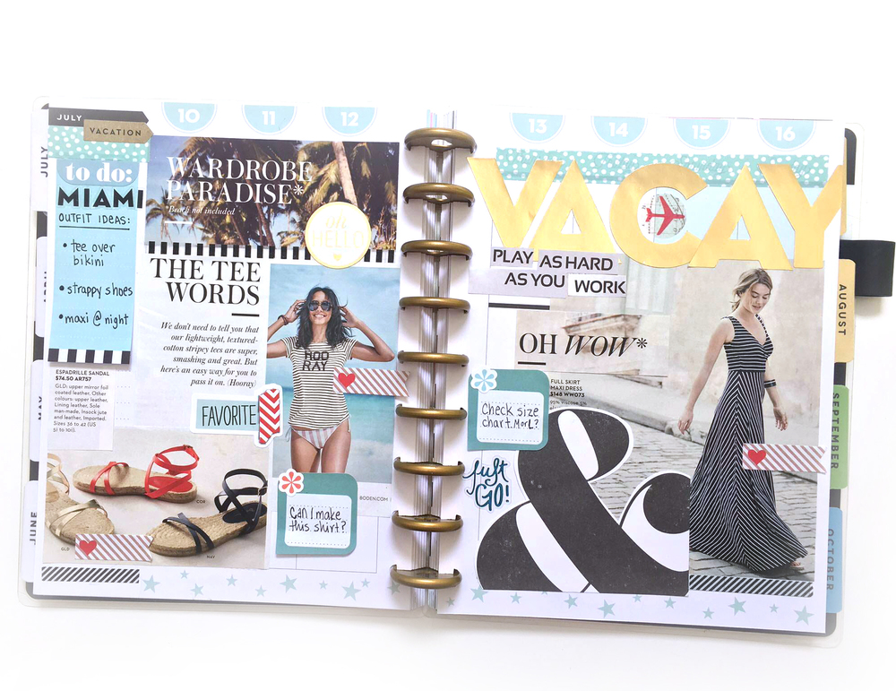 visual 'VACATION' inspiration collage created in The Happy Planner™ of mambi Social Media Coorindator Amanda Rose Zampelli | me & my BIG ideas