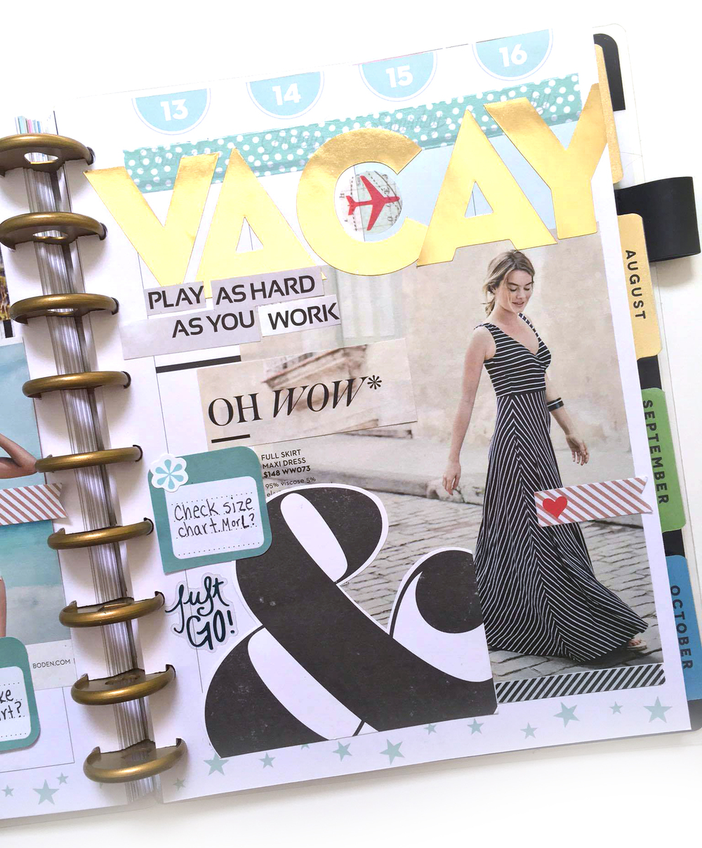 visual 'VACATION' inspiration collage created in The Happy Planner™ of mambi Social Media Coorindator Amanda Rose Zampelli   me & my BIG ideas
