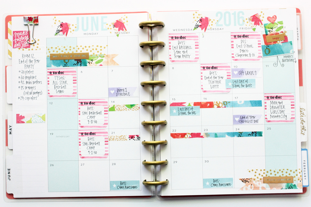 watercolor-themed June monthly pages in The Happy Planner™ of mambi Design Team member April Orr | me & my BIG ideas