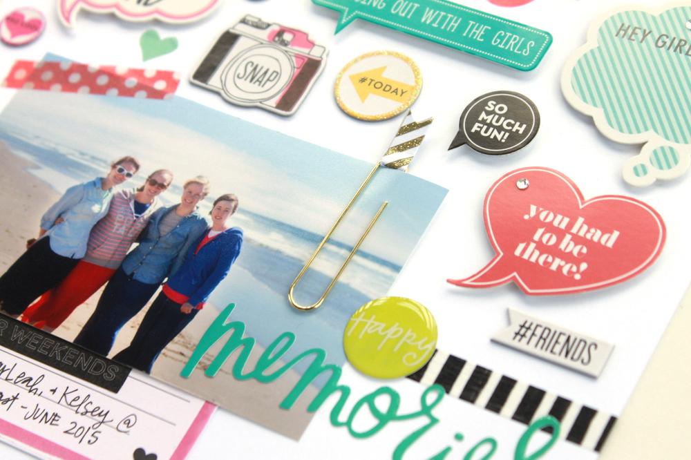 step-by-step walkthrough of 'Happy Memories' scrapbook page by mambi Design Team member Heather Adams | me & my BIG ideas