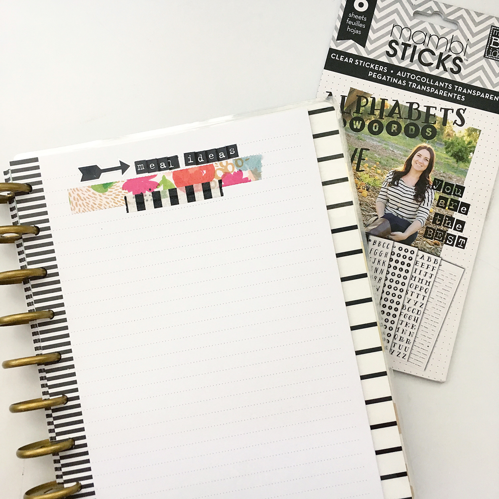 meal planning made easy in The Happy Planner™ of mambi Design Team member Jennie McGarvey using blanks sheets of notepaper | me & my BIG ideas