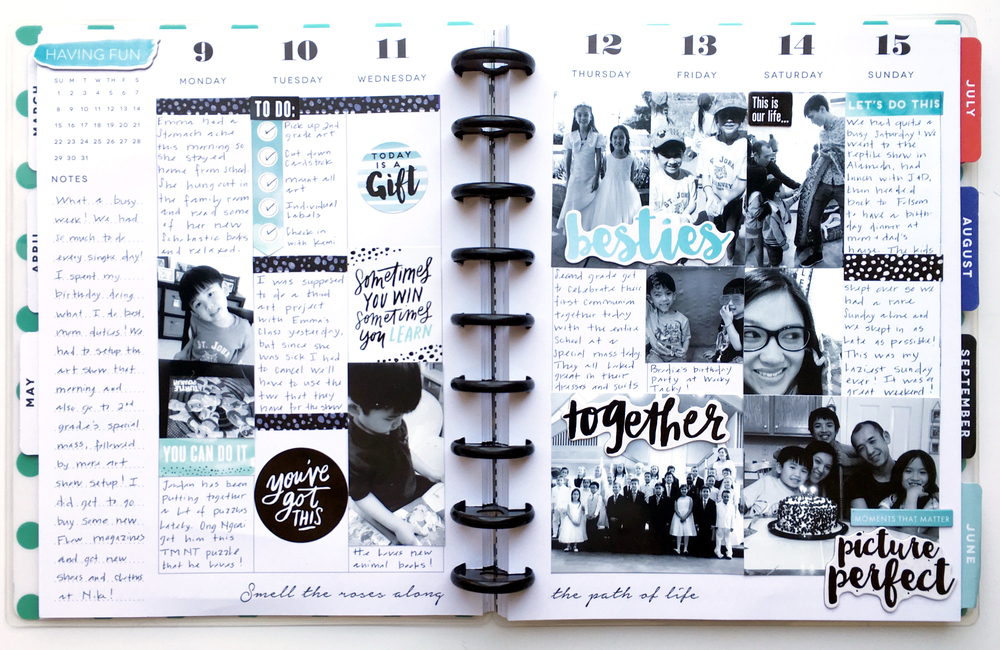 black & blue memory planning layout in The Happy Planner™ of mambi Design Team member Theresa Doan | me & my BIG ideas