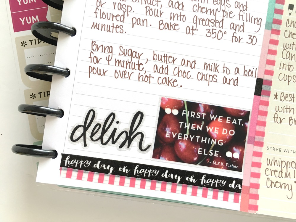 filling up The Happy Planner™ Recipe Organizer by mambi Design Team member Mary-Ann Maldonado | me & my BIG ideas