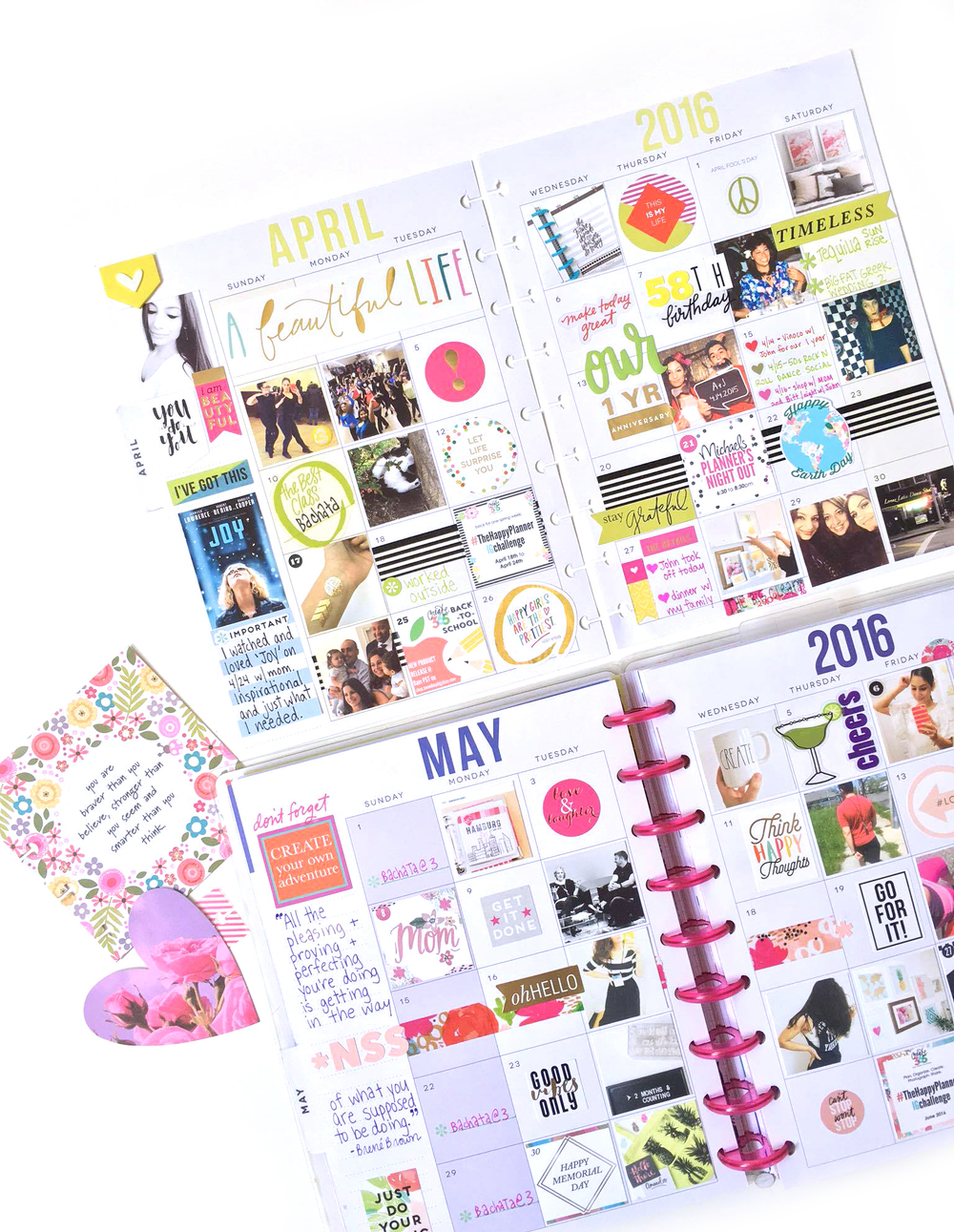 The happy planner photo filled monthly spreads me for Happy planner ideas