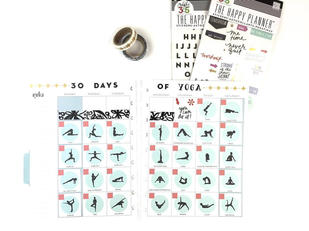 '30 Days of Yoga' in The Happy Planner Fitness Planner™ of mambi Design Team member Megan McKenna | me & my BIG ideas