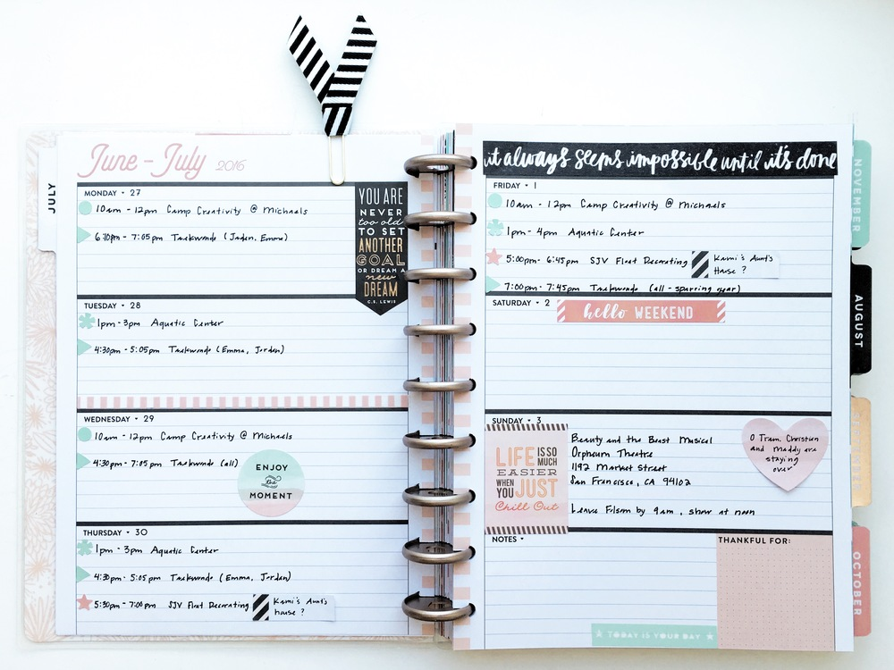 a look at the new Horizontal Happy Planner™ of mambi Design Team Theresa Doan and how her first weekly spread came together | me & my BIG ideas