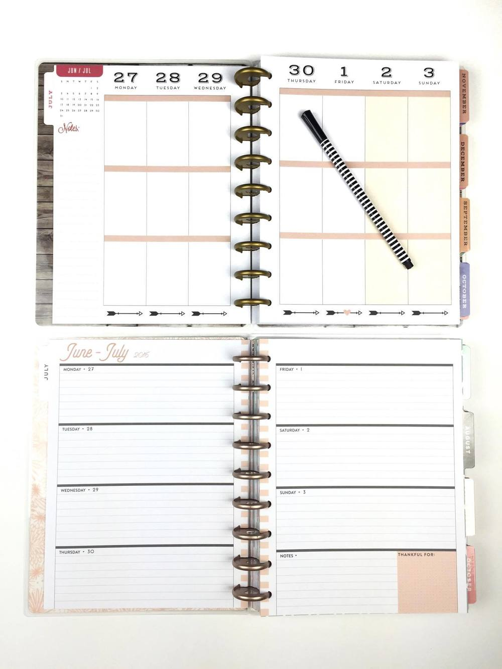 mid-year plan of mambi Design Team member Megan McKenna: working with the 'Fresh Floral' & Rose Gold Horizontal Happy Planners™ | me & my BIG ideas