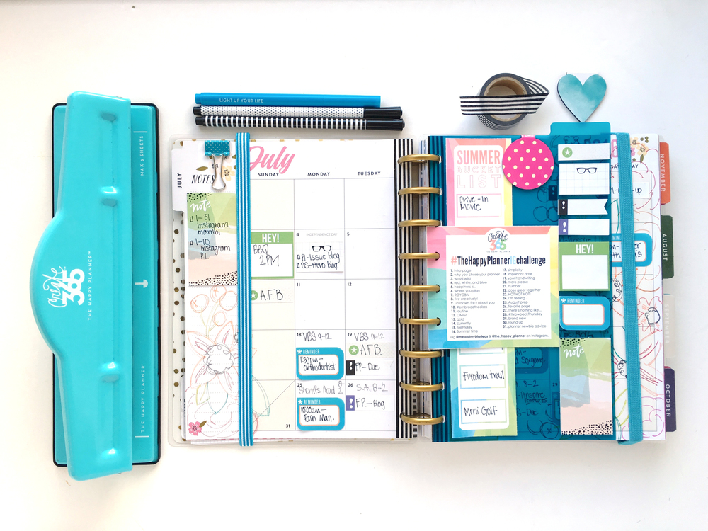 a doodle start to July monthly spread in the 'Botanical Garden' Happy Planner™ of mambi Design Team member Mary-Ann Maldonado | me & my BIG ideas