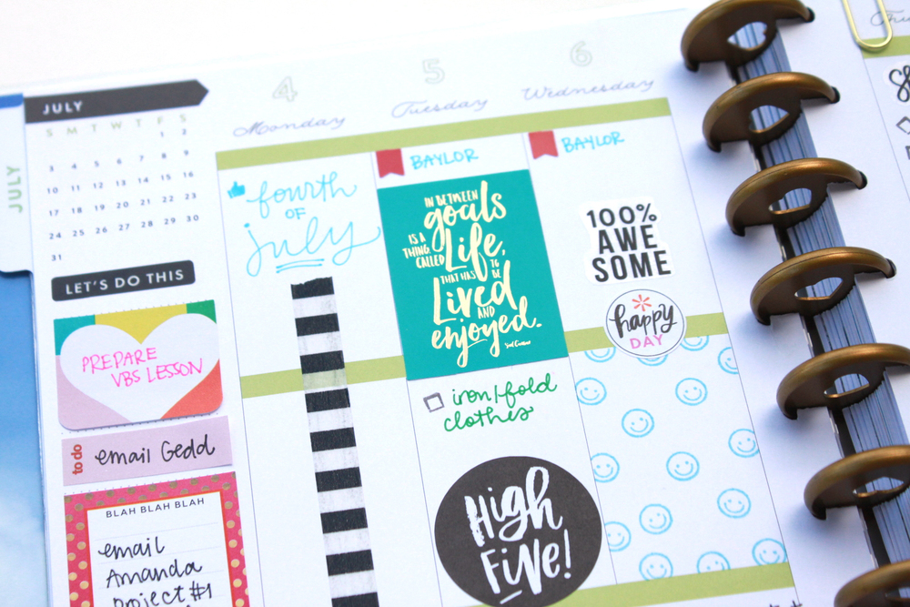 DIY stamped patterns inside the weekly boxes of The Happy Planner™ by mambi Design Team member Heather Adams | me & my BIG ideas