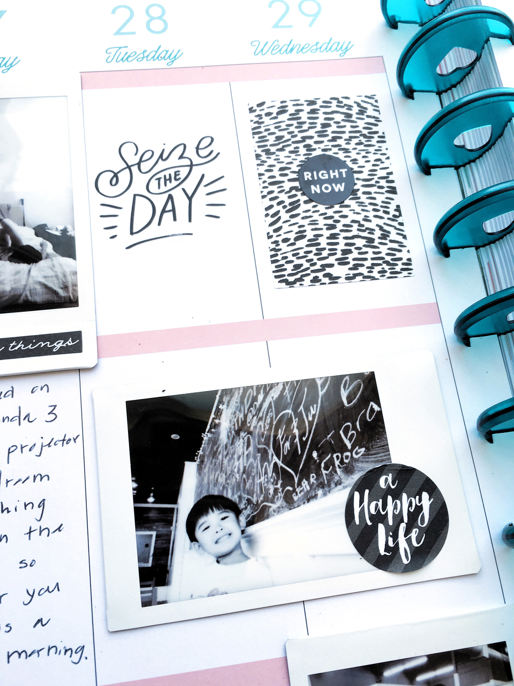 black & white memory keeping in The BIG Happy Planner™ of mambi Design Team member Theresa Doan | me & my BIG ideas