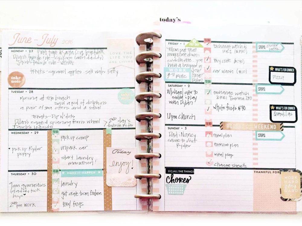 planning in the horizontal Rose Gold Happy Planner™ of mambi Design Team member Casie Gutierrez | me & my BIG ideas