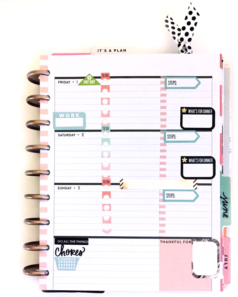 planning in the horizontal Rose Gold Happy Planner™ of mambi Design Team member Casie Gutierrez | me & my BIG ideas