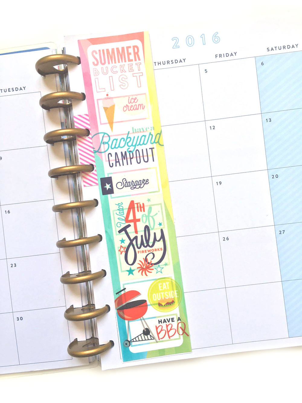 filling out the 'Summer Bucket List' printable w/ Happy Planner™ stickers by mambi Social Media Coordinator Amanda Rose Zampelli | me & my BIG ideas