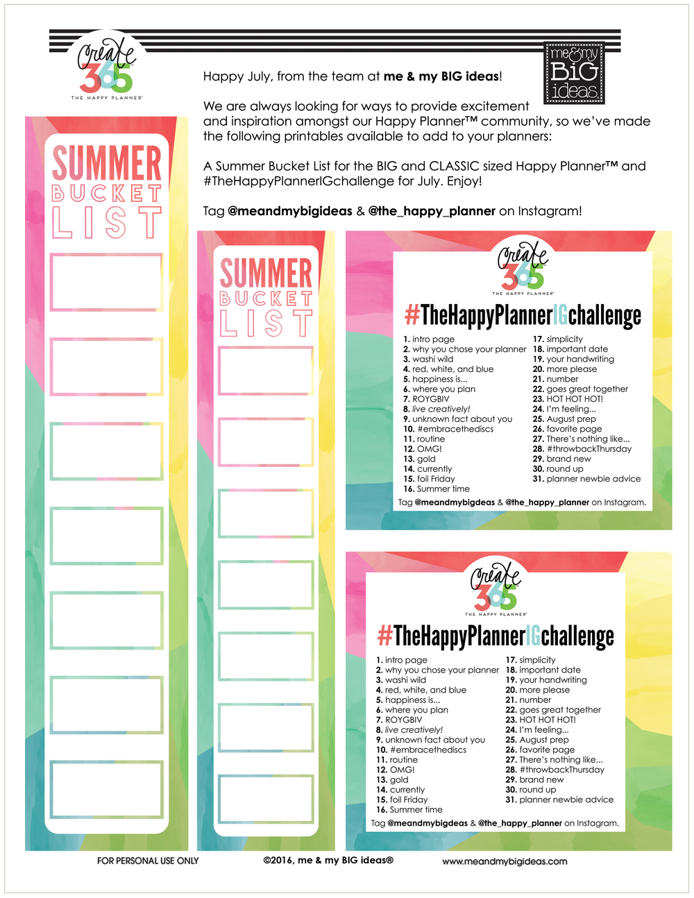 SUMMER BUCKET LIST & July 2016 IG challenge printable.jpg