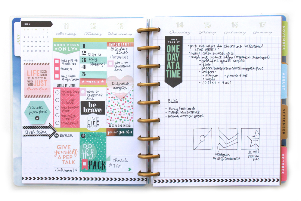 One Sided Happy Planner Weekly Spread W Grid Paper Cover