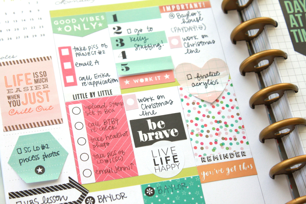 one-sided Happy Planner™ weekly spread w/ grid paper cover-up by mambi Design Team member Heather Adams | me & my BIG ideas
