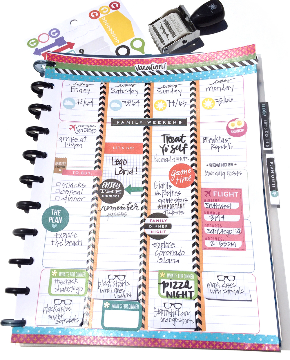 Turning the happy planner teacher planner into a travel for Planner design