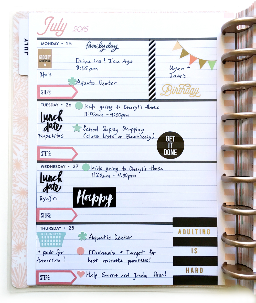 Full july week in the rose gold horizontal happy planner for Happy planner ideas