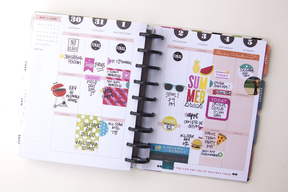 a 'START OF SUMMER' memory planned week in The Happy Planner™ of mambi Design Team member Jennie McGarvey | me & my BIG ideas