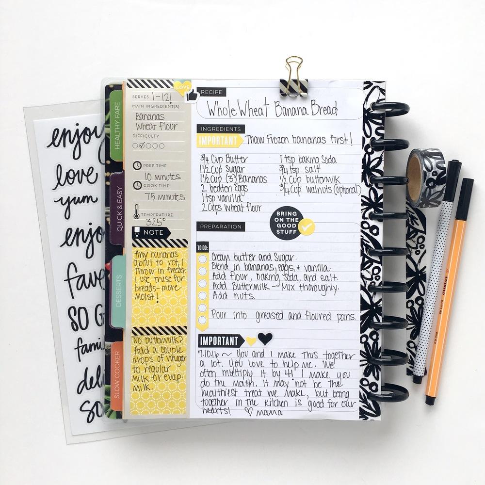 two recipes recorded in The Recipe Organizer of mambi Design Team memeber Mary-Ann Maldonado | me & my BIG ideas