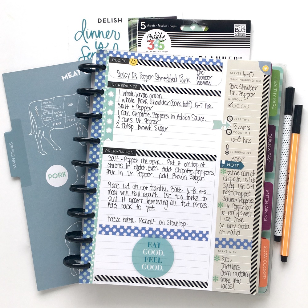 two recipes recorded in The Recipe Organizer of mambi Design Team memeber Mary-Ann Maldonado | me & my BIG ideas