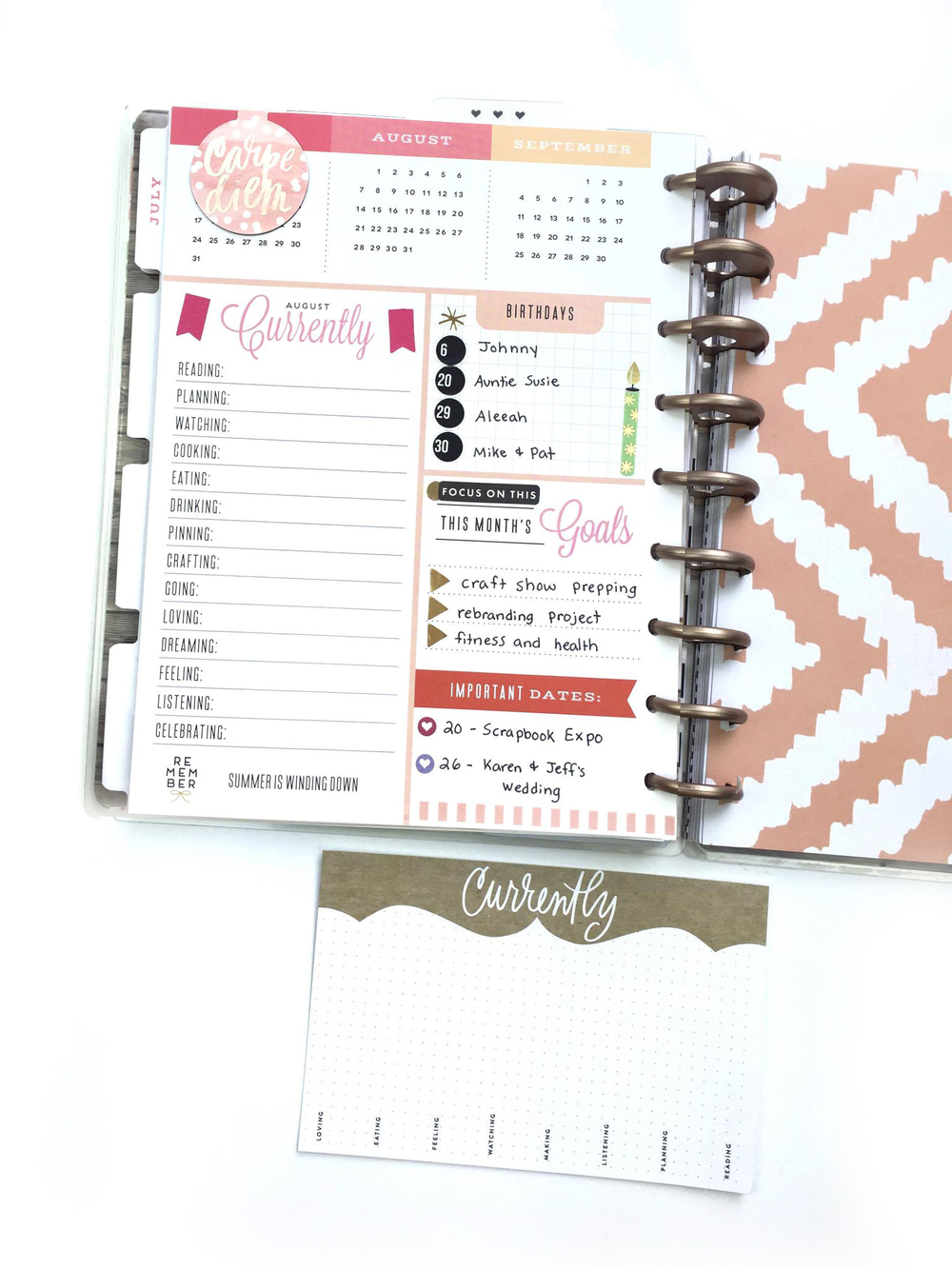 prepping for a new month in the 'Fresh Floral' Happy Planner™ of mambi Design Team member Megan McKenna | me & my BIG ideas