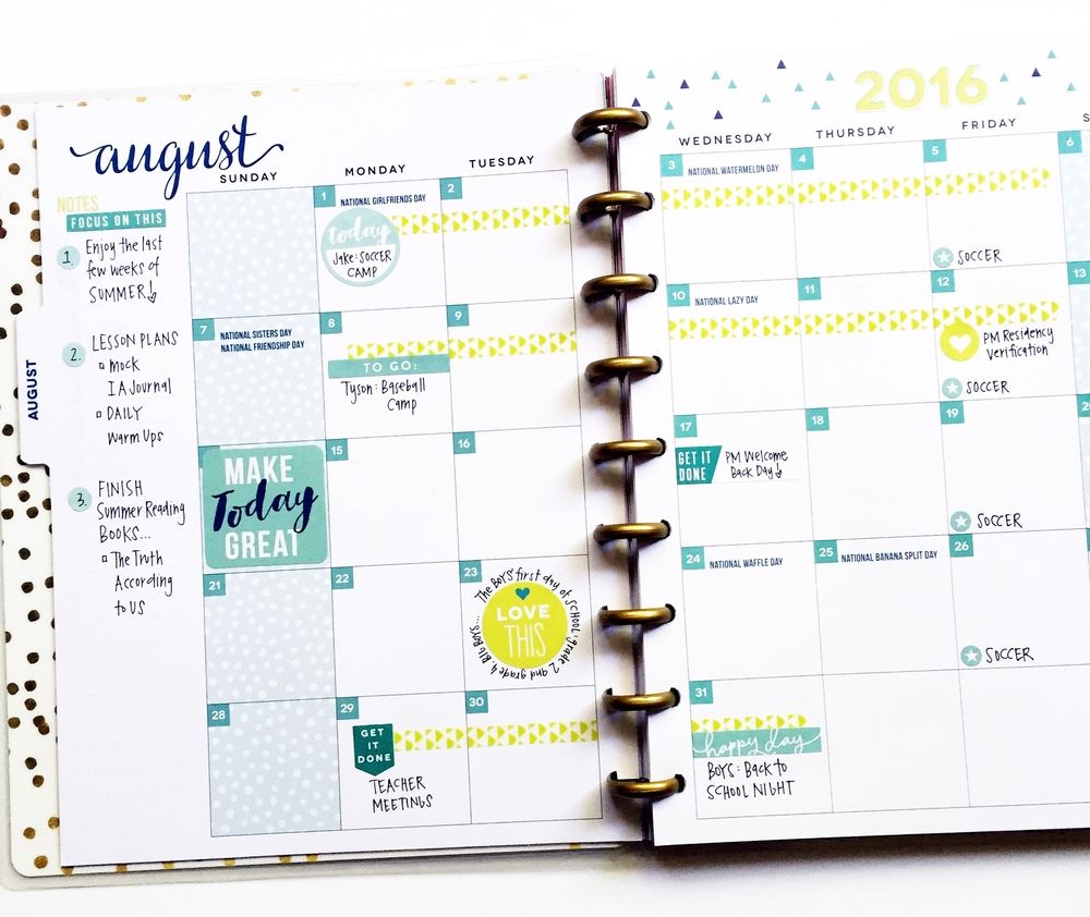color-coded August FUN in the 'Be Bright' Happy Planner™ of mambi Design Team member April Orr | me & my BIG ideas