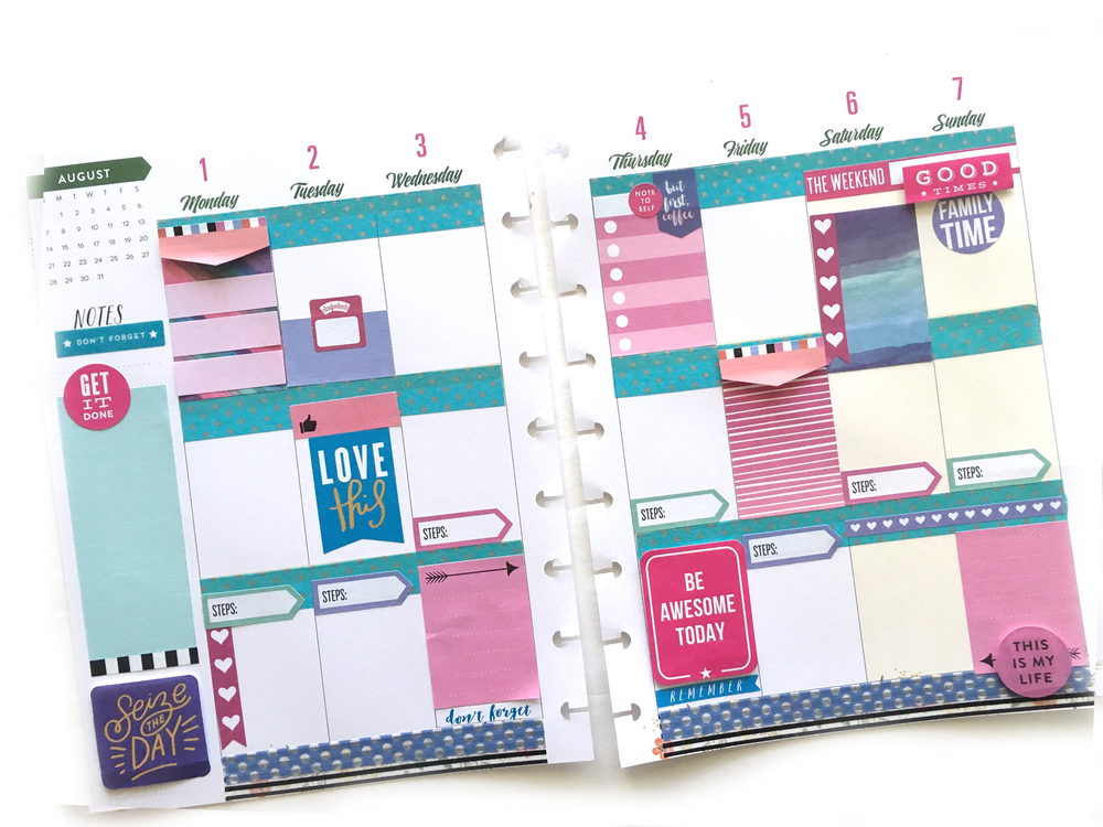 pink, purple, & turquoise week in the 'Botanical Garden' Happy Planner™ of mambi Design Tea member Mary-Ann Maldonado | me & my BIG ideas