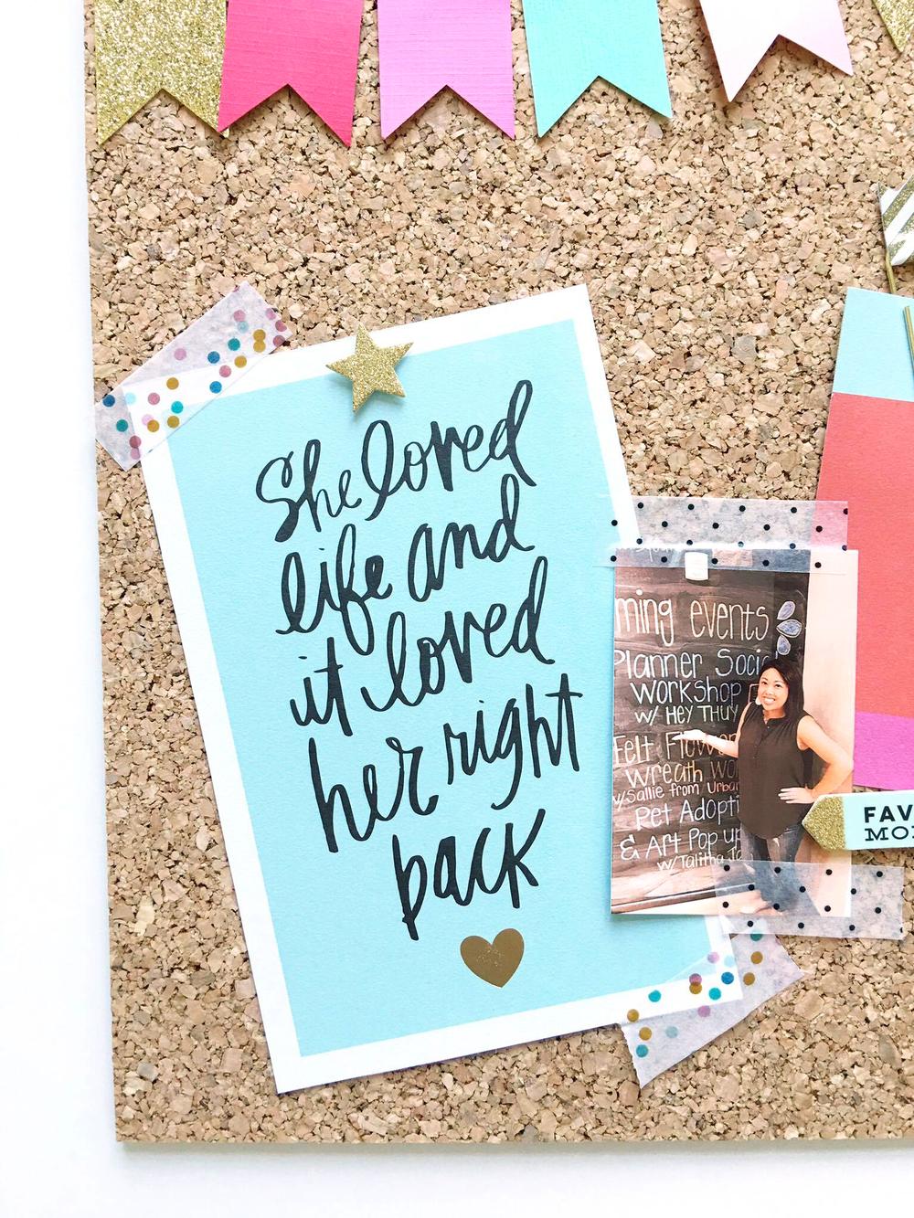 inspirational bullentin board by mambi Design Team member Thuy Bui   me & my BIG ideas